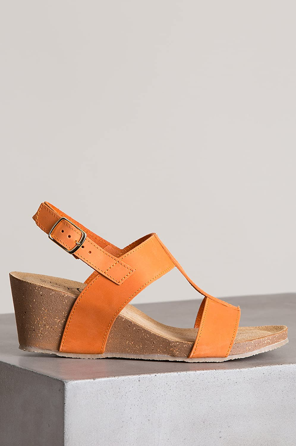 Bos. & Co.. Women's Lust Italian Leather EU37|Orange T-Strap Wedge Sandals B07C22PQB7 EU37|Orange Leather f7da79