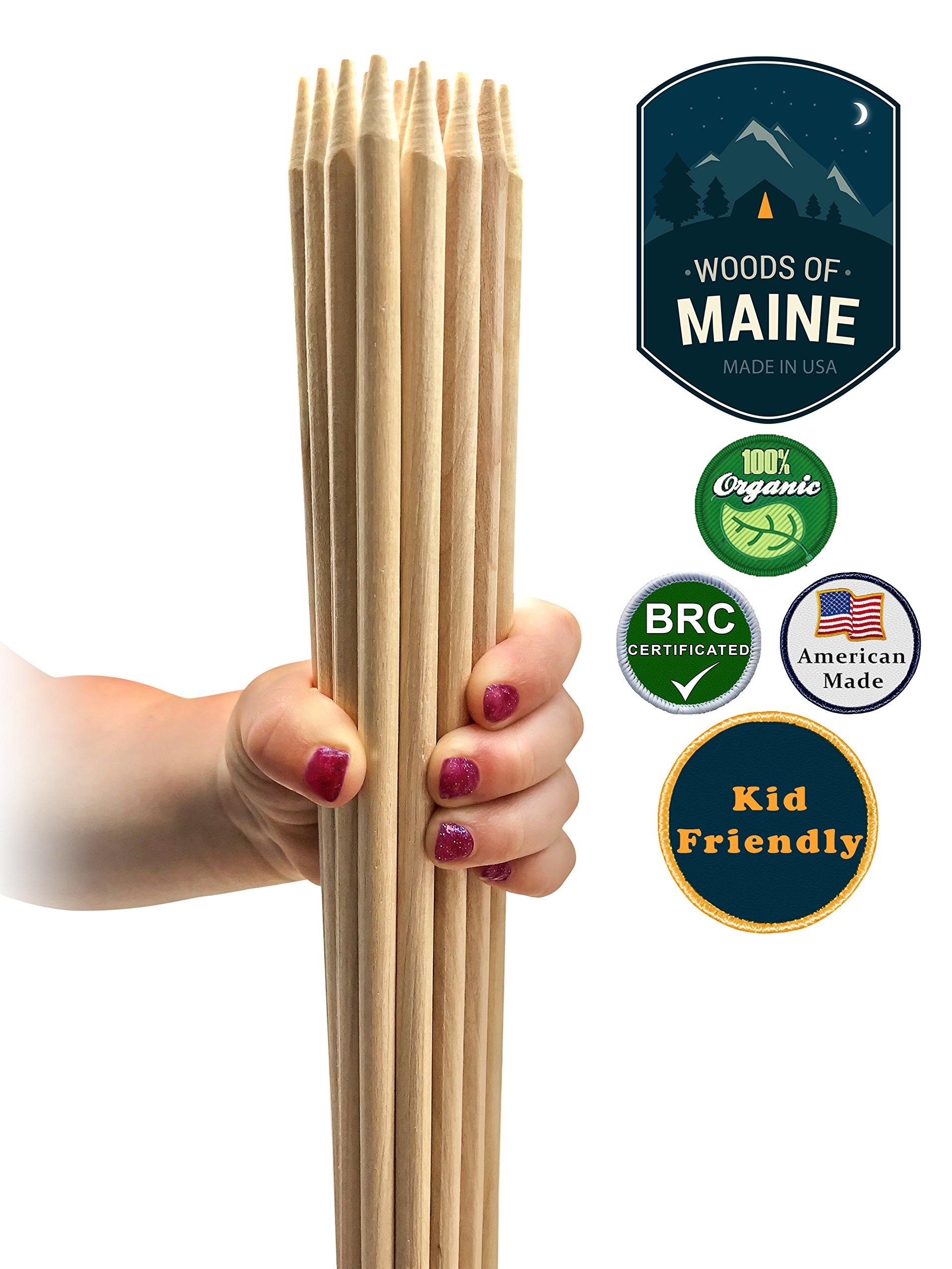 Marshmallow Roasting Sticks. American-made, White Birch - a healthier alternative to imported bamboo or metal. BRC Food Grade Certified, Kosher. 20 count Family Pack (30'' long, 6mm thick)