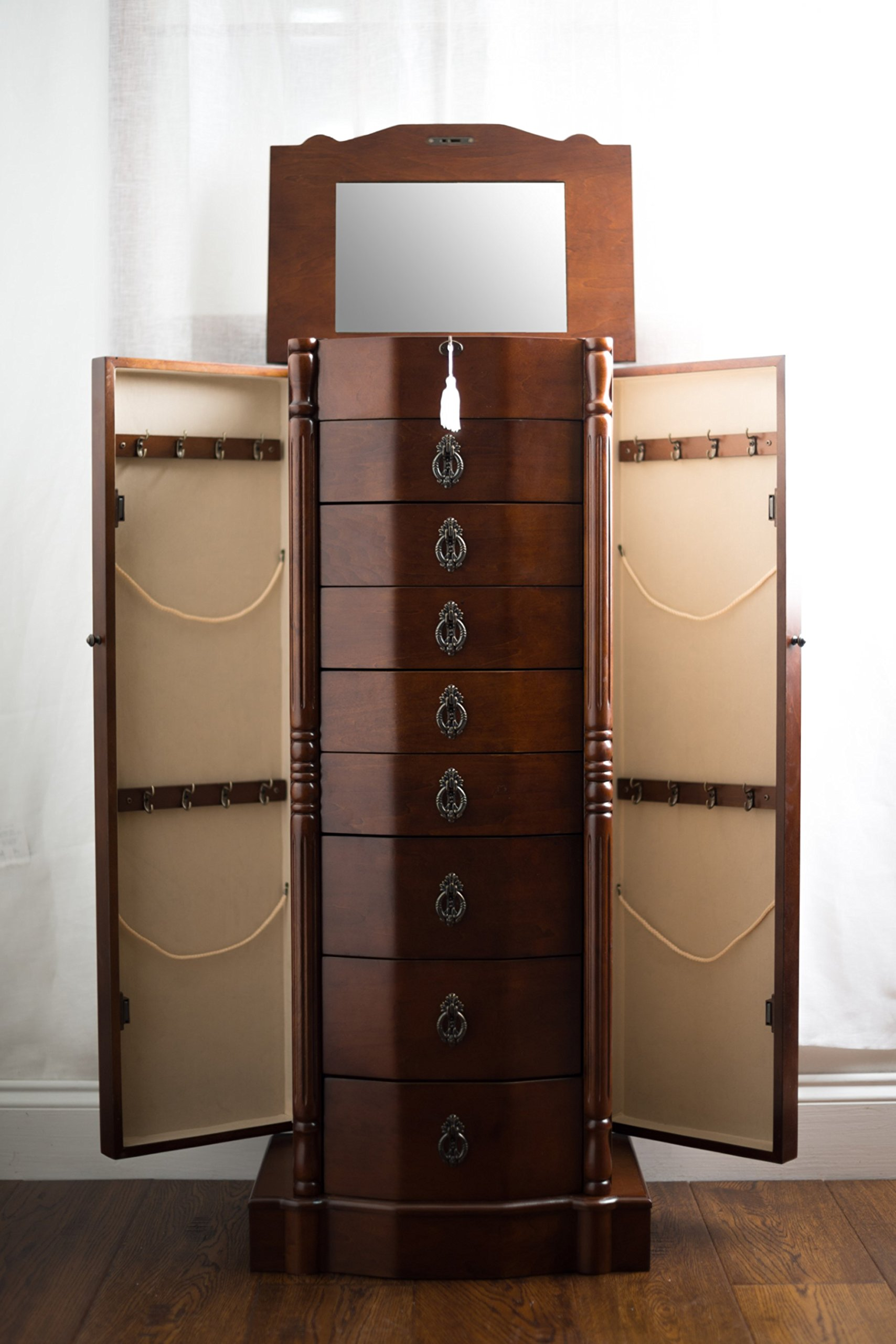 Hives and Honey 1004-382 Robyn Jewelry Armoire, 41'' H x 17.25'' W x 12.5'' D, Walnut by Hives and Honey (Image #2)