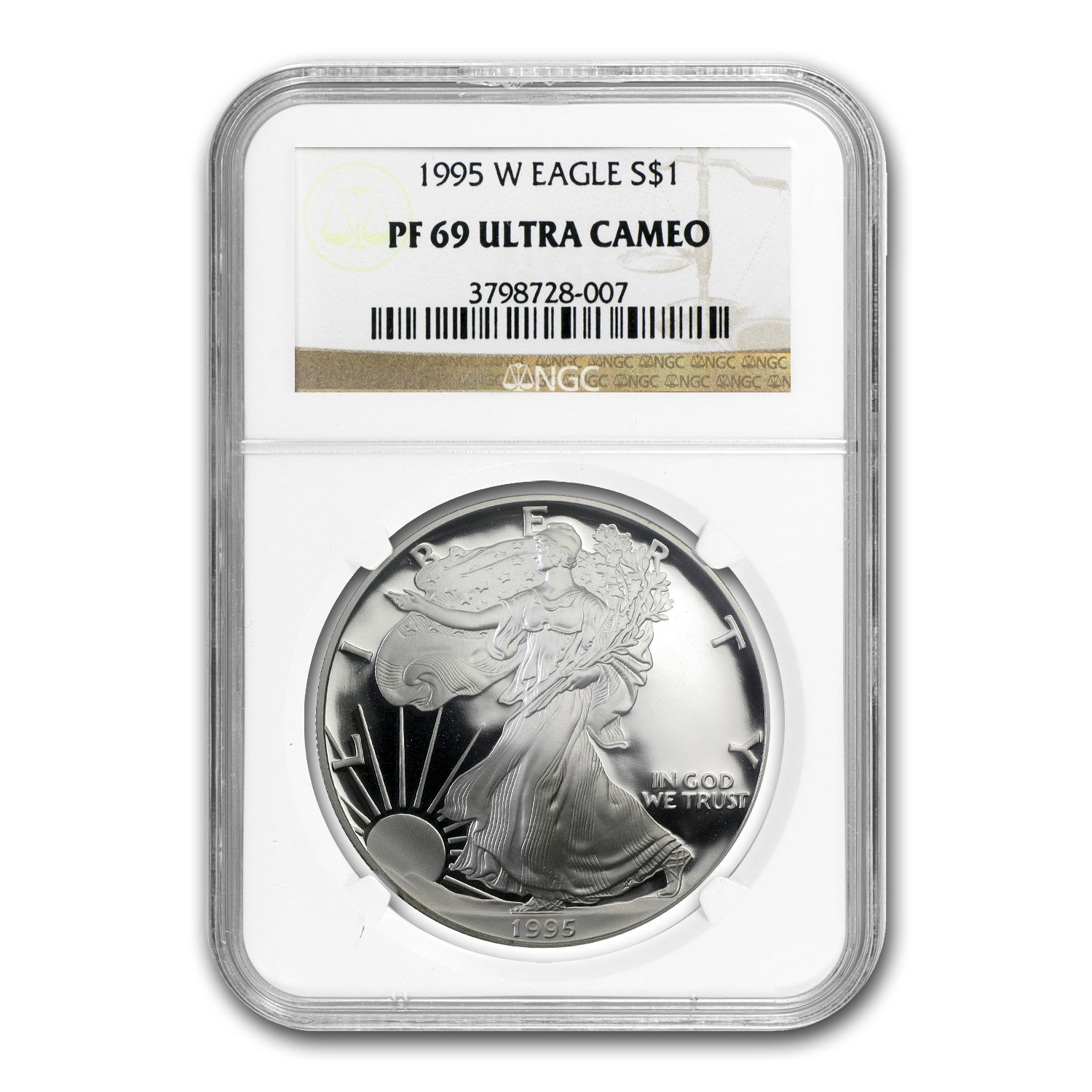 1995-P U.S Silver Eagle Proof Ultra Cameo Coin NGC PF 69 ULTRA CAMEO 1 oz