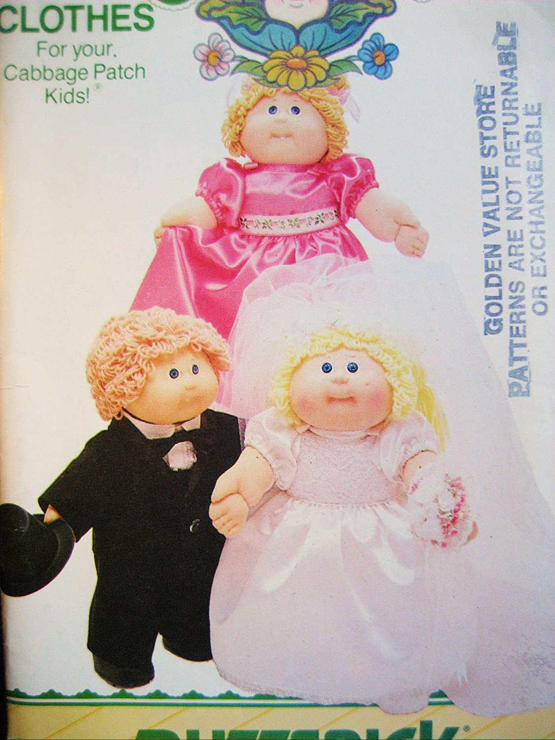Amazon.com: Butterick Pattern 3927 Cabbage Patch Kids Wedding Party ...