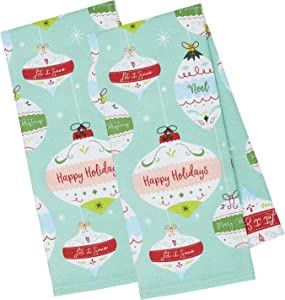 "DII, 100% Cotton Decorative HolidayDishtowels, 18x28"", Set of 2, Ornaments"