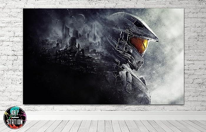 Amazon.com: Halo Gaming Movie Box Framed Canvas Print - Wall Art ...