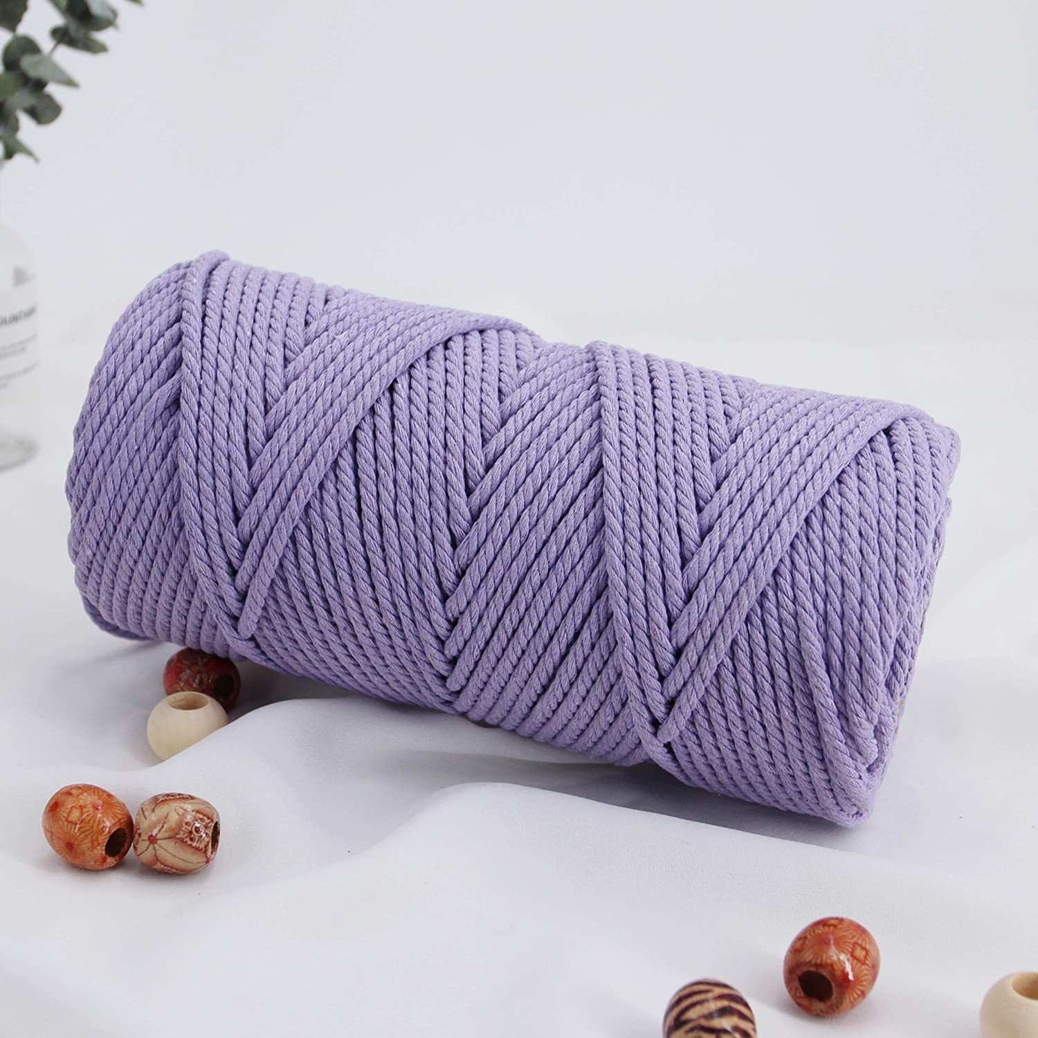 Macrame Cord 4mm 100m Cotton Rope 1 Pack Light Purple,Natural Cotton Rope for Colorful Macrame Hand Knitting, 4 Strands Twist Cotton Rope Macrame 4mm for Handmade Colored Wall Hanging Weaving Tapestry