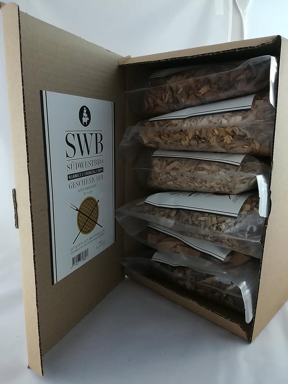 6er Geschenk-Set Buchenholz Räucherspäne mit verschiedenen Gewürzen