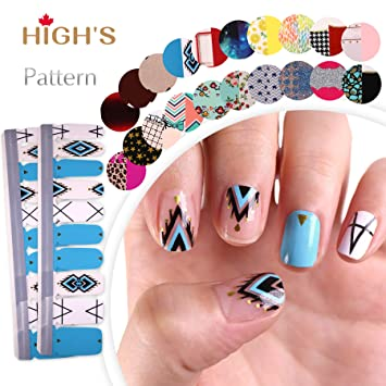 HIGH'S EXTRE ADHESION 20pcs Nail Art Transfer Decals Sticker Pattern Series The Cocktail Collection Manicure DIY Nail Polish Strips Wraps for