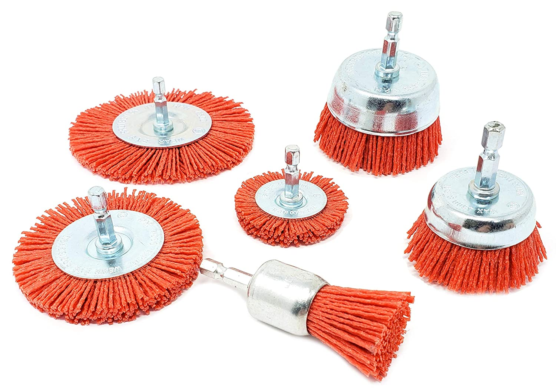 Nylon Filament Abrasive Wire Brush Kit for Drill (Set of 6)