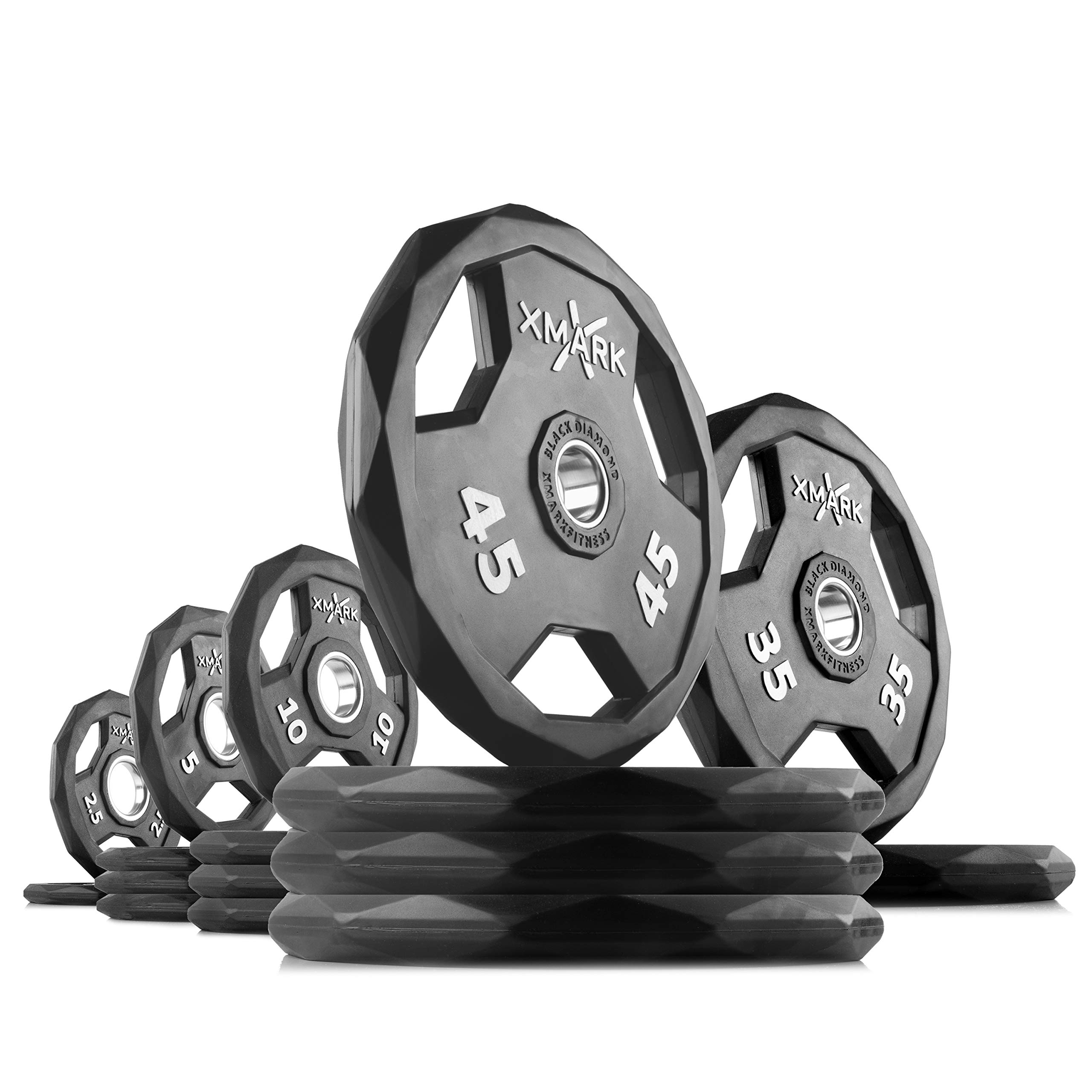 XMark Black Diamond 315 lb Set Olympic Weight Plates, One-Year Warranty, Patented Design