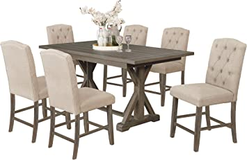 Amazon Com Best Quality Furniture 7 Piece Dining Set Beige Table Chair Sets