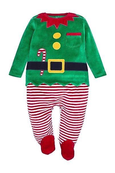 next Bebé Niño Conjunto De Pijama De Una Pieza Pelele Y Gorro Diseño De Elfo De Navidad (0 Meses-2 Años)