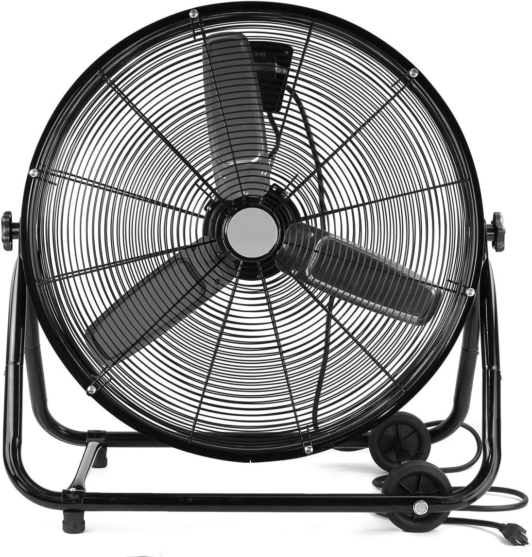 "XtremepowerUS High Velocity 24"" Rolling Drum Floor Fan Shop Fan Adjustable Speed Air Flow Garage Warehouse w/Built-in Wheel"