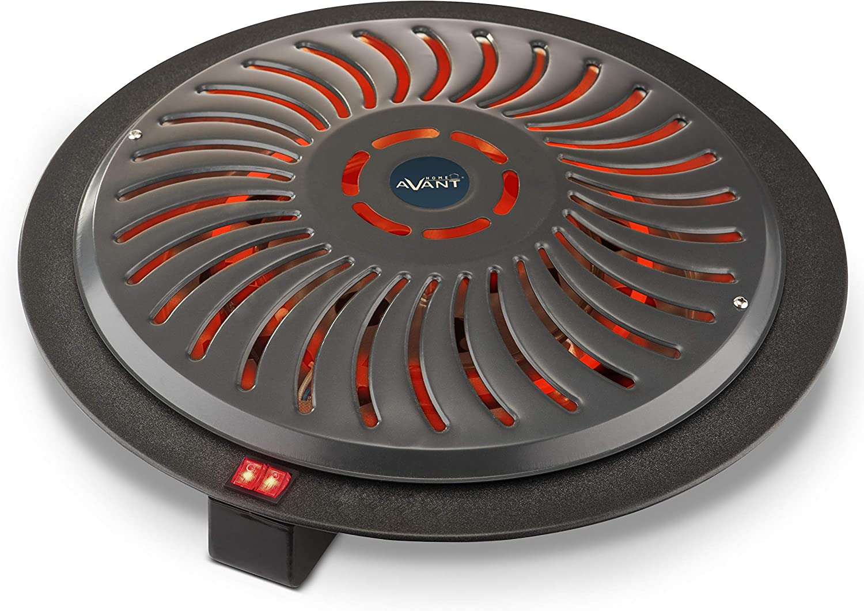 AVANT AV7559 - Brasero Eléctrico 900w con 3 Niveles De Potencia: 400w - 500w - 900w. Cable De 1,8 M, Protección Térmica. Color Gris