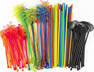 Bar Caddy Supplies (120 Pack) – Assorted Swizzle Sticks/Drink Stirrers (24 of Each Design) – Disposable Flexible Drinking Straws in 2 Sizes – Small Bar Party Supply Refill Pack for Bar Organizer