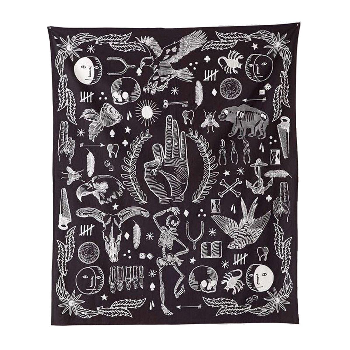 Jeteven Hippie-Tapisserie Mandala Wandteppich Blau forest Tuch, indisch Elephant Wandbehang Wald, Wall Tapestry Boho Yoga Strandtuch Picnic Throw, Wand Deko 165X148cm (H)