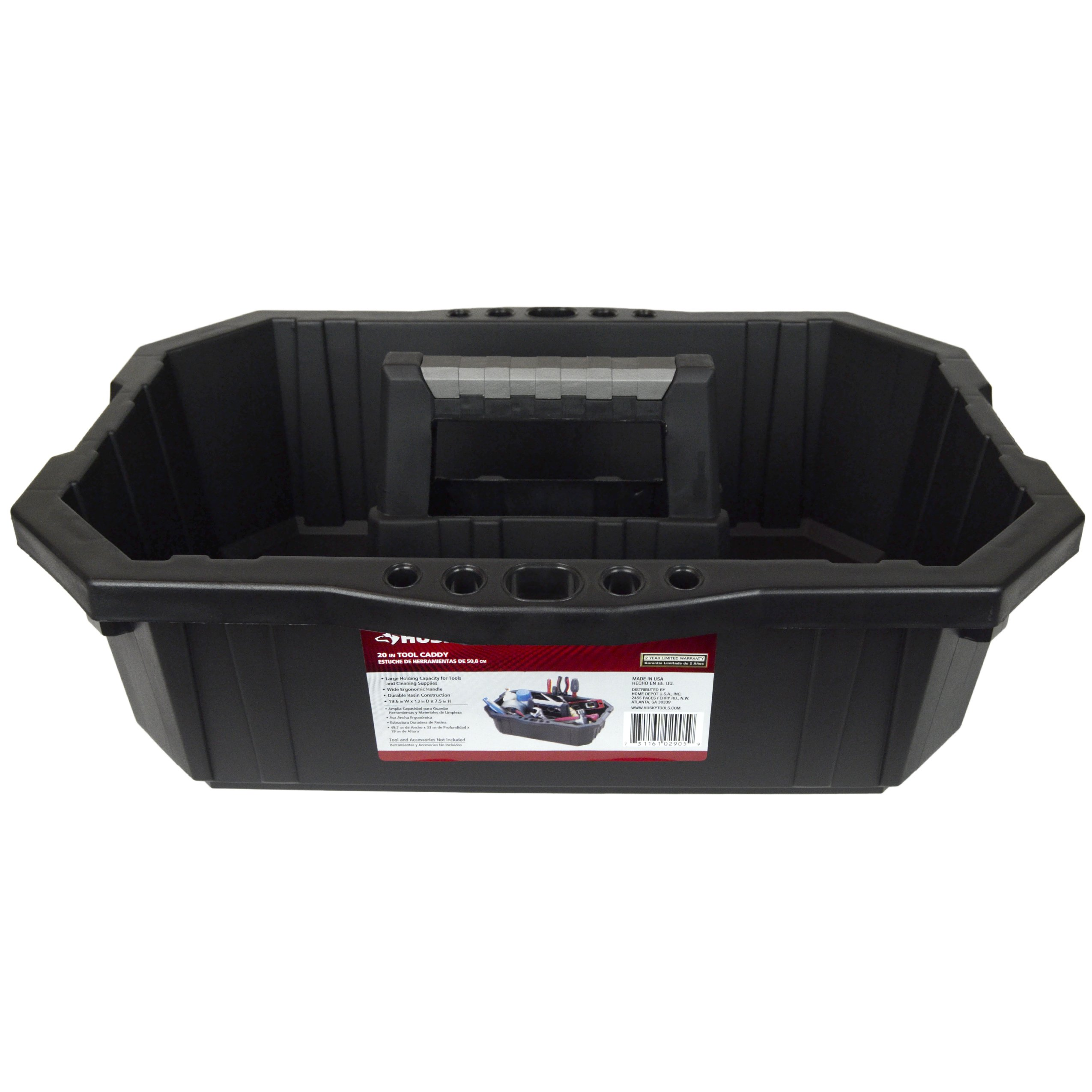 HUSKY Single Compartment Professional Tool Caddy Made in the USA 19.6 inch-13 inch-7.5 inch