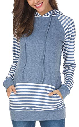 ECOWISH Womens Cowl Neck Stitching Striped Pullover Hoodies Drawstring Long  Sleeve Pocket Casual Sweatshirts Dark Blue