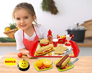 Shooback Pretend Toy Food and Kids Play Kitchen Accessories Set | Fake Food for Ages 3, 4, 5, 6, 7, 8 | Includes Hamburger, Hot Dog, Fruits, Vegetables, Tray, Plates, Utensils and Bonus Dinner Bell