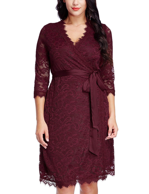 GRAPENT Womens Plus Size Floral Lace 3/4 Sleeves Formal True Wrap Dress Cocktail KLAFAE