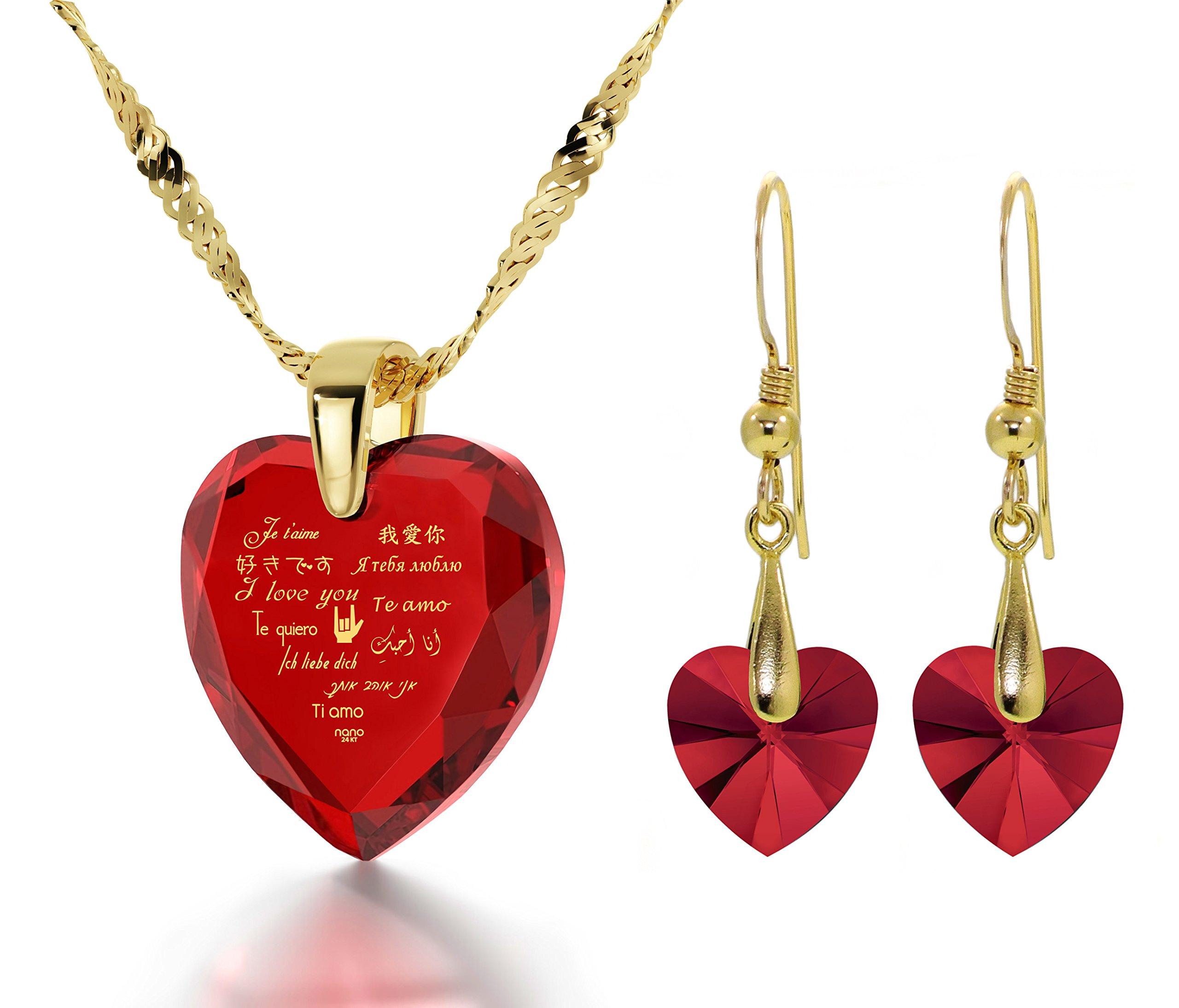 Gold Plated I Love You Necklace 12 Languages Gold Inscribed Red CZ - Crystal Earring Heart Jewelry Set by Nano Jewelry