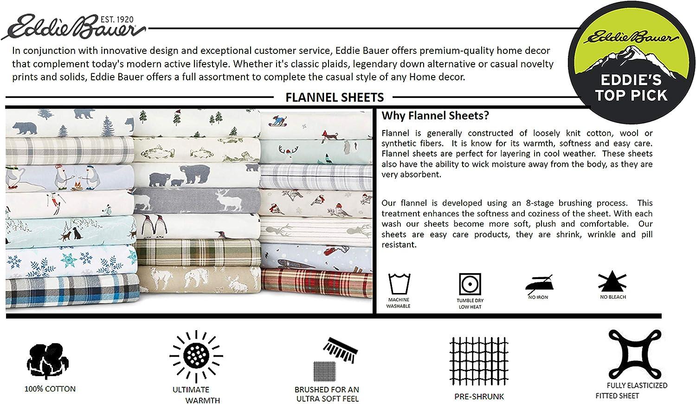 Amazon.com: Eddie Bauer Bear Family Flannel Sheet Set, Queen, Gray ...
