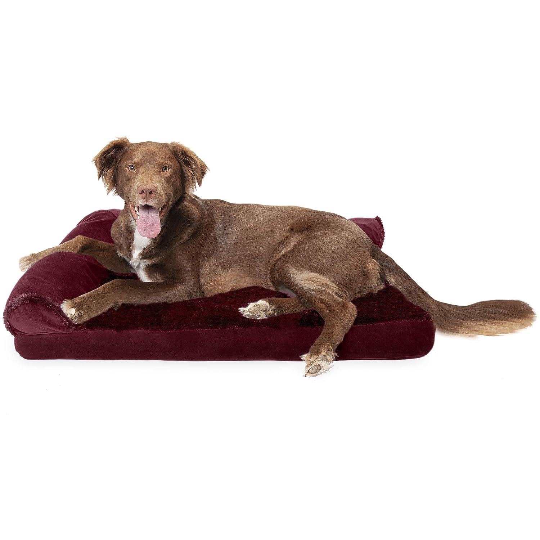 FurHaven Pet Dog Bed   Deluxe Cooling Gel Memory Foam Orthopedic Plush & Velvet L-Shaped Lounge Pet Bed for Dogs & Cats, Merlot Red, Large