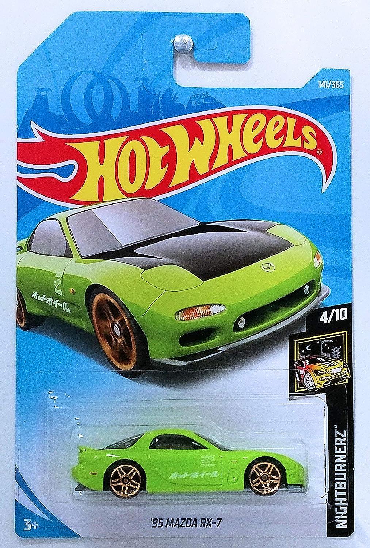 Hot Wheels 2018 50th Anniversary Nightburnerz 95 Mazda Rx 7 141 365 Green Amazon In Toys Games
