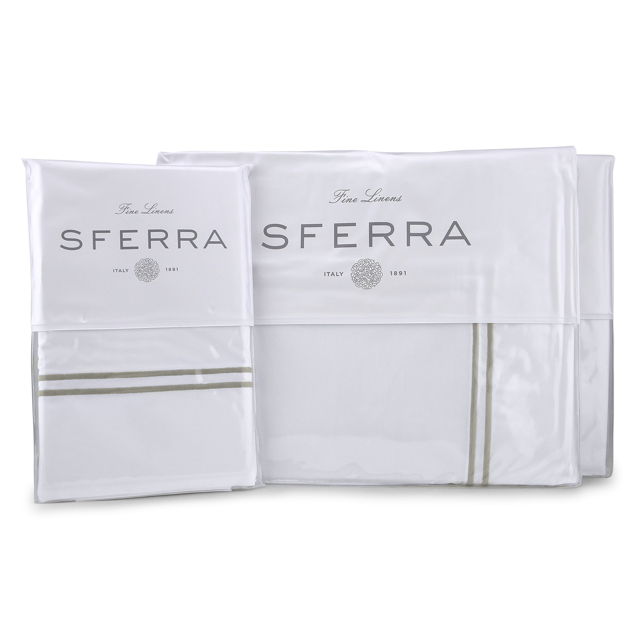Sferra Grande Hotel Sheet Set - King - White/Grey