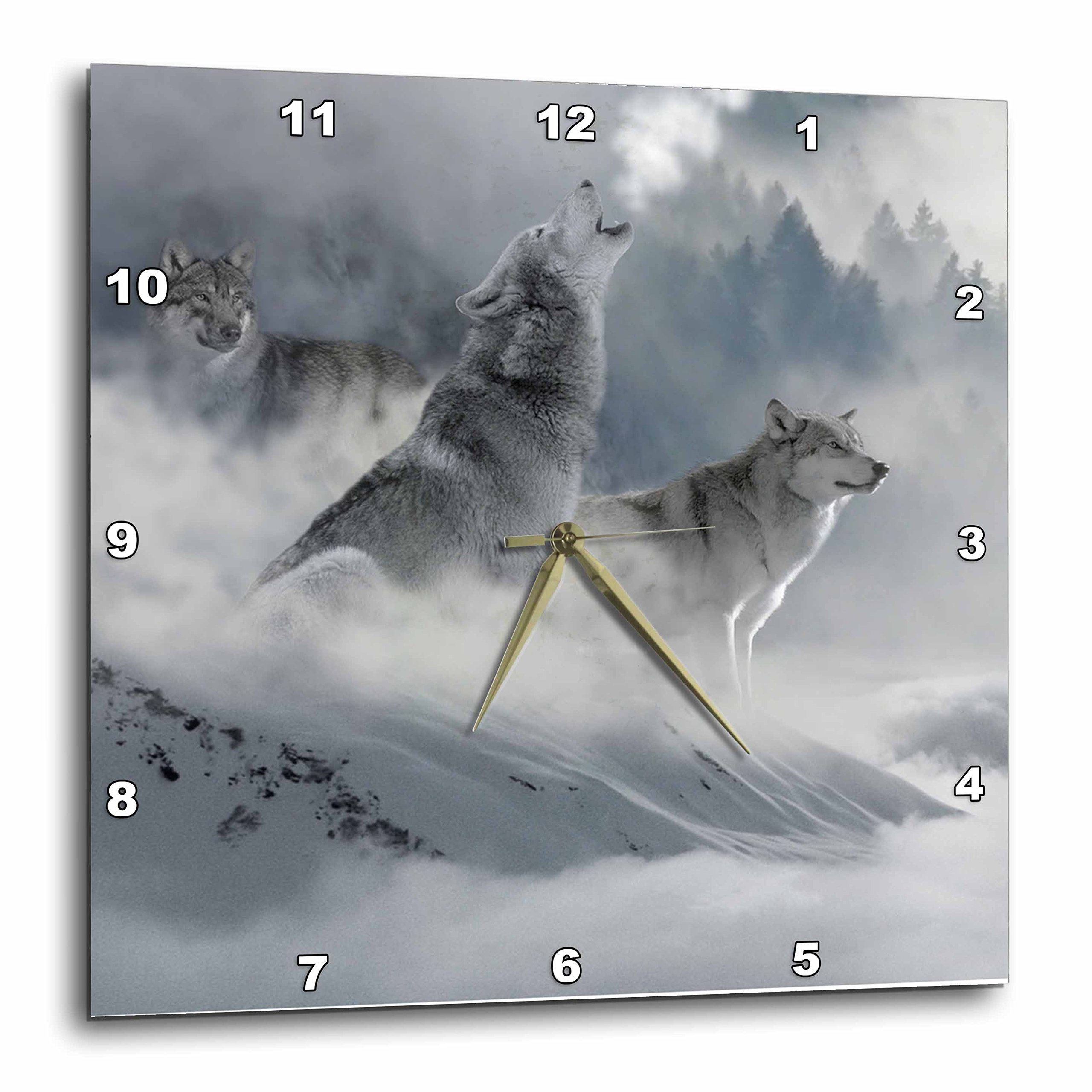 3dRose 3D Rose dpp_252104_1 Fantasy Wolf Wolves Animal with Clouds-Wall Clock 10-Inch (1)