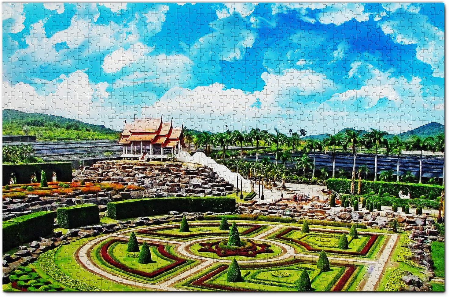 Thailand Jigsaw Puzzle 1000 Piece Thailand Nong Nooch Tropical Botanical Garden Pattaya Puzzle Game Artwork Travel Souvenir Wooden