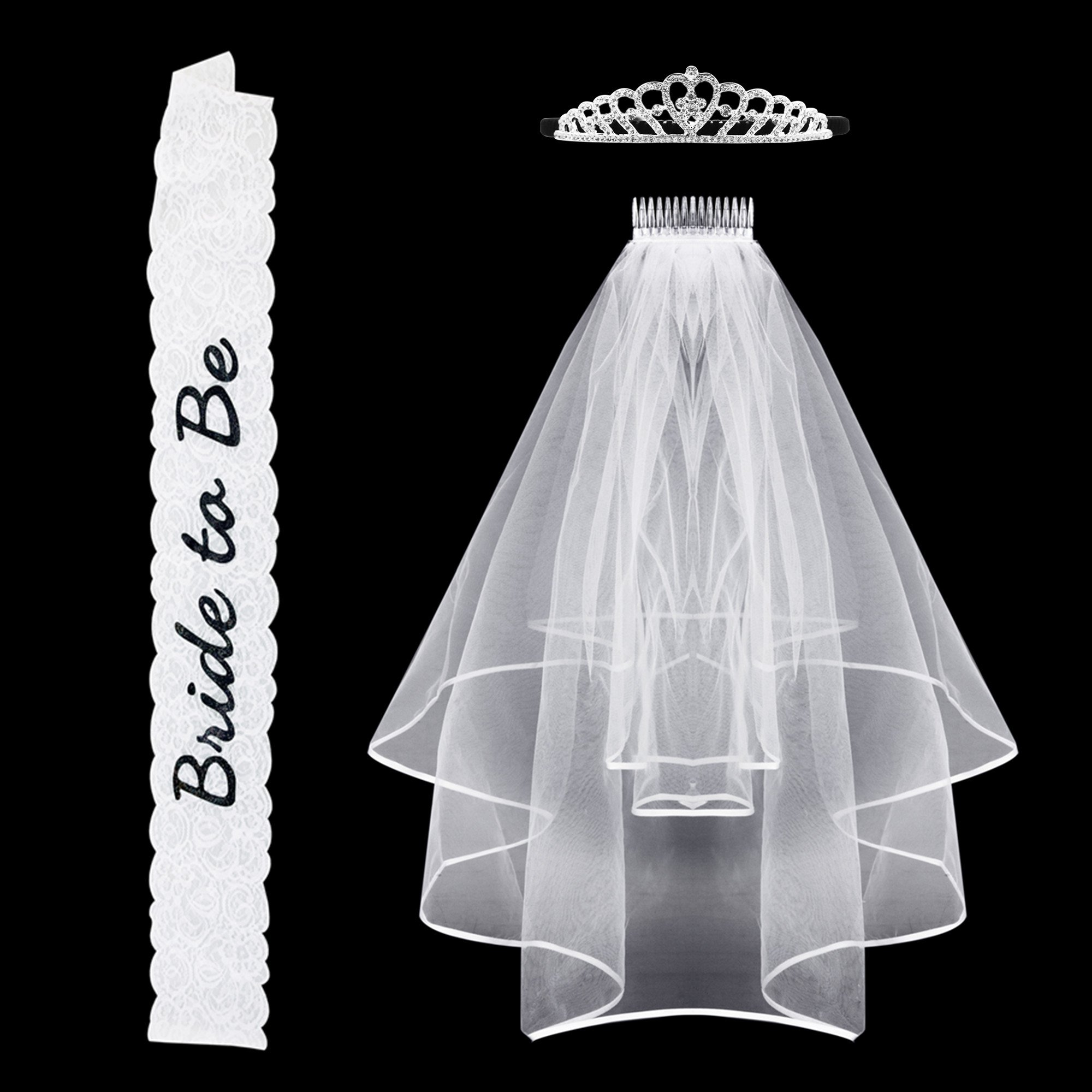 Bachelorette Party Bride To Be Sash Lace & Rhinestone Tiara Crown & Bridal Veil Girls Night Out Game … (Lace)