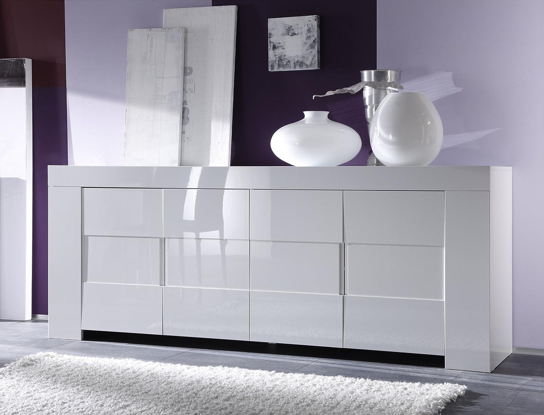 Sideboard weiß hochglanz glas  Sideboard Eos 4-türig, 210 x 84 x 50 cm, weiß hochglanz: Amazon.de ...