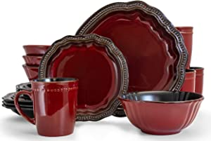 Elama Round Oval Stoneware Fine Dining Dinnerware Dish Set, 16 Piece, Dark Red with Bronze Accents