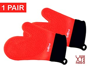 ByChefCD Silicone Oven Mitt (1 Pair) Double-Layer, Heat Resistant Baking Gloves - Red