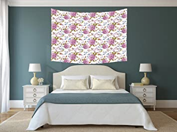 Amazon.com: Polyester Tapestry Wall Hanging,Floral,Vintage ...