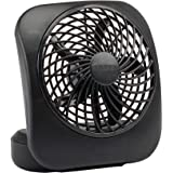 """O2COOL 5"""" Battery Operated Portable Fan in Gray Traditional Black"""