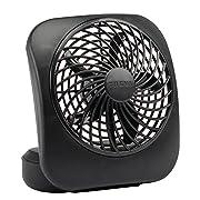 O2COOL Treva 5-Inch Portable Desktop Air Circulation Battery Fan | 2 Cooling Speeds, Compact Folding & Tilt Design, Black