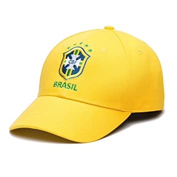 b2e89a0951d Brazil CBF Adjustable Snapback Team Color Curved Bill Soccer Hat ...