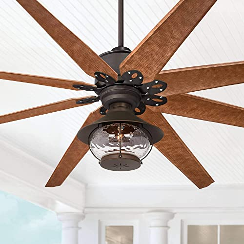 72 Predator Outdoor Ceiling Fan with Light LED English Bronze Cherry Blades Hammered Glass Lantern Damp Rated for Patio Porch – Casa Vieja