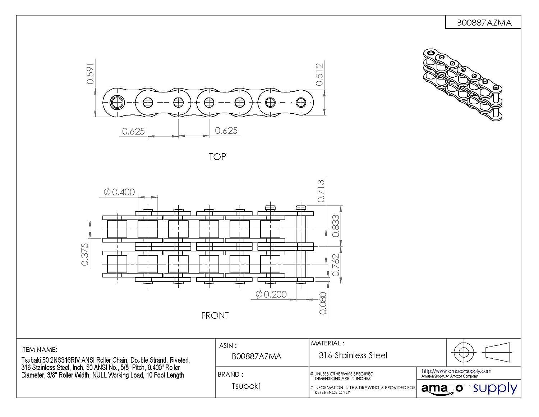 Tsubaki Wiring Diagram Layout Diagrams John Deere 5320 Fuse Box 50 2nsrb Ansi Roller Chain Double Strand Riveted 316 Rh Amazon Com Symbols