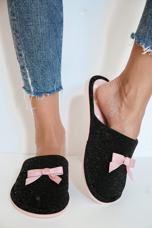 TWINS Fashion /« Rome /» Chaussons Femmes /él/égants int/érieur Coton Pantoufles Jolies Confortables Chaudes Hiver Mules Semelle antid/érapante