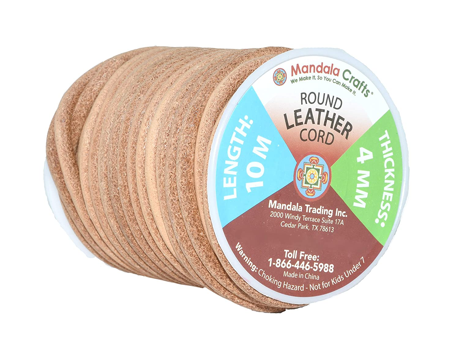Natural Rawhide Rope for Jewelry Making Shoelaces Mandala Crafts Round Cowhide Genuine Leather String Cord Kumihimo Braiding 1.5mm, Brown