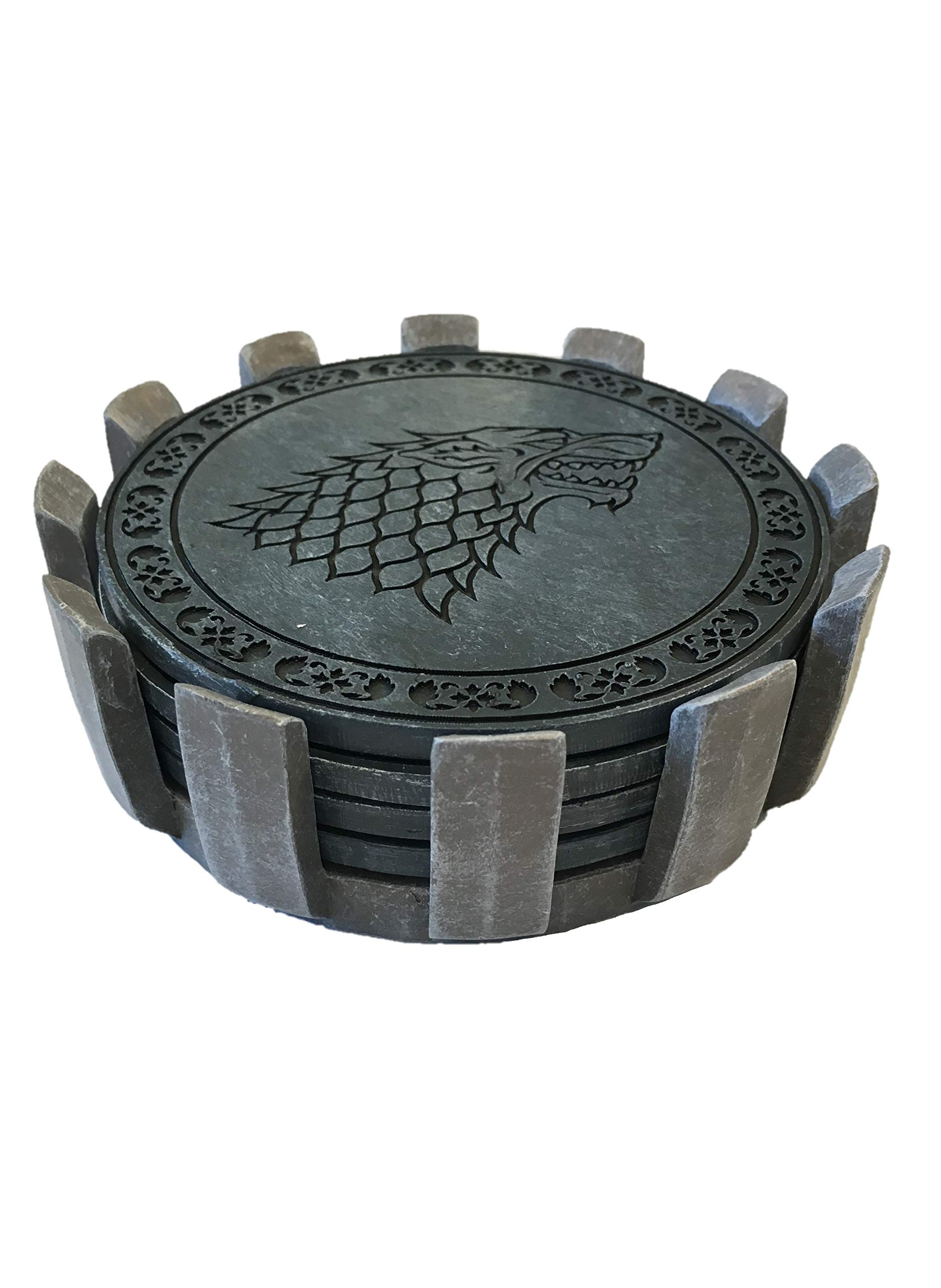 Game of Thrones Drink Coaster Set with Holder- House Sigil Beverage Coasters - Set of Four Faux Sandstone Coasters- Cork Backed by Rabbit Tanaka (Image #2)