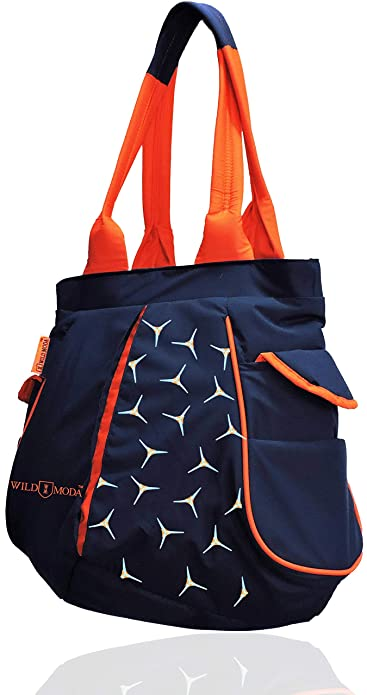 3029376f5bcd WILD MODA F-Track Women's Polyester Shoulder Bag (Large, Blue and Orange):  Amazon.in: Shoes & Handbags