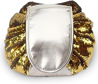 Luxe Multicolore Sequin Magic Sac de maquillage Make Up Pouch Cordon de serrage Portable Petit sac Cosmétique de stockage–Doré/argenté House at No 5