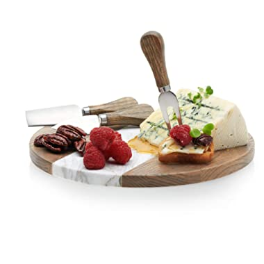 Prologue Handcrafted Wood and Marble Cheese and Appetizer Board with 3 Wood-Handled Cheese Knives