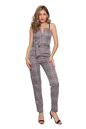Aarzoo Femme Gris Contrast Check Col en V Combinaison à Carreaux Taille  Droite Taille Ajustable Bretelles 36fe7c1e0b2