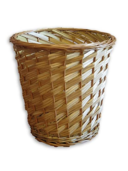 Amazon Com Small Branded Natural Wicker Round Willow Waste Basket