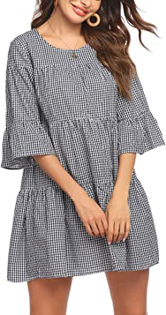 Hotouch Women's Plaid Dresses 3/4 Bell Sleeve Casual Ruffle Sundress A Line Loose Swing Babydoll Mini Dress