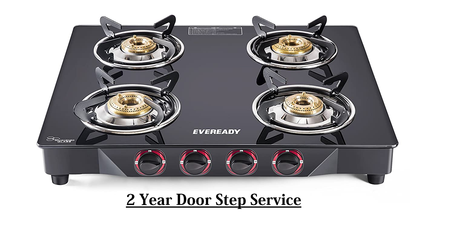 Eveready TGC4B MR Glass Top 4 Burner Gas Stove - Black