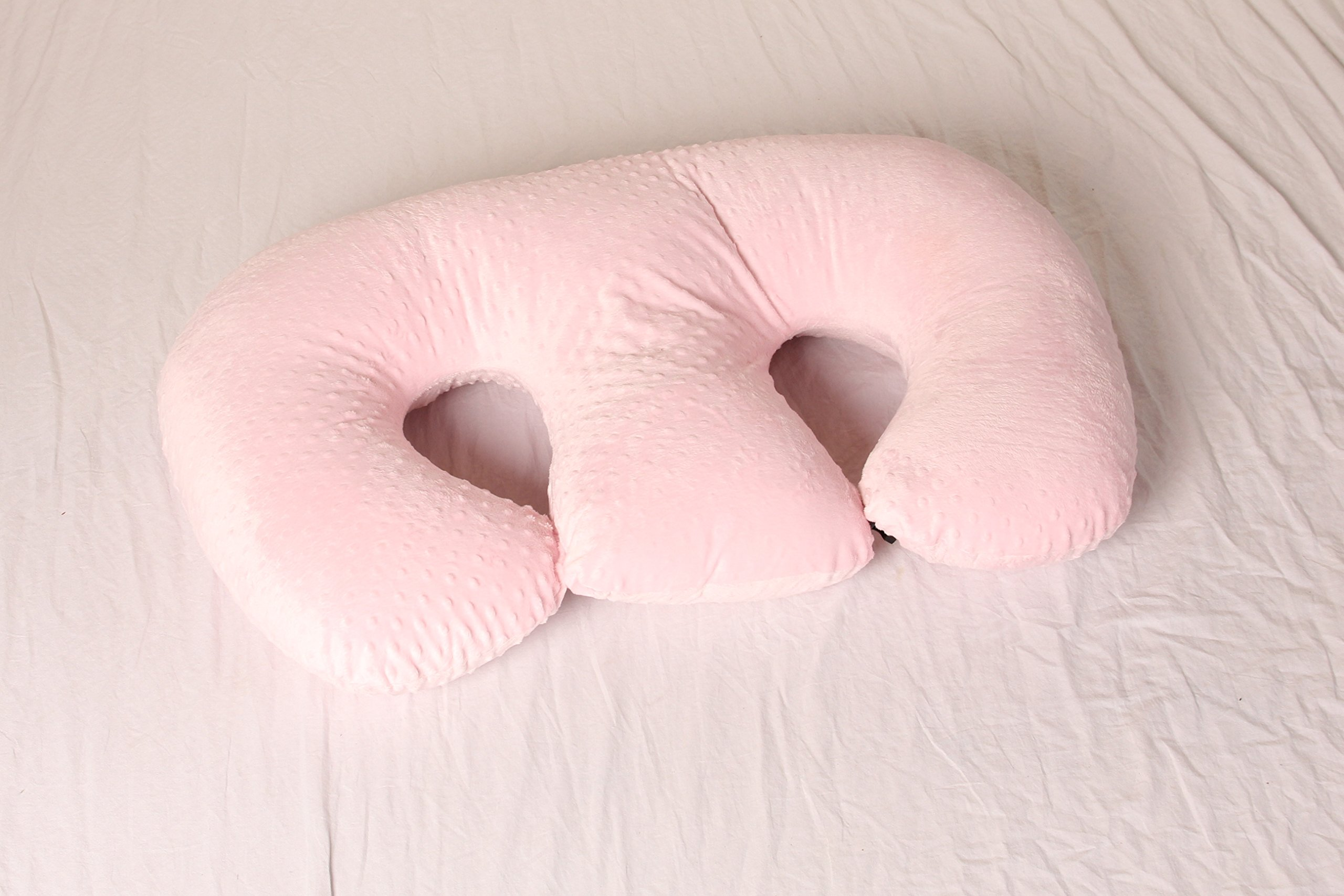 THE TWIN Z PILLOW - PINK The only 6 in 1 Twin Pillow Breastfeeding, Bottlefeeding, Tummy Time & Support! A MUST HAVE FOR TWINS! - CUDDLE PINK DOTS by Twin Z PIllow (Image #3)